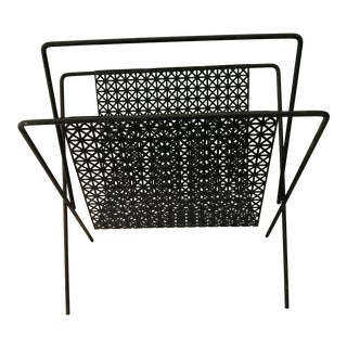 Vintage Mid-Century Modern Atomic Metal Magazine Rack For Sale