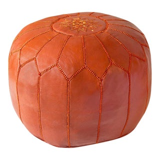 Orange Moroccan Leather Pouf For Sale