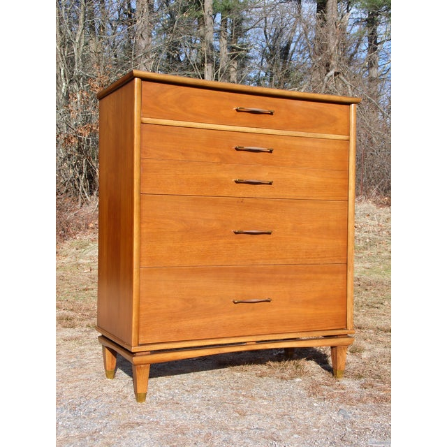 "Vintage Mid Century Modern Kent Coffey Walnut Highboy Dresser Chest from ""The Nomad"" series features 4 spacious dovetailed..."