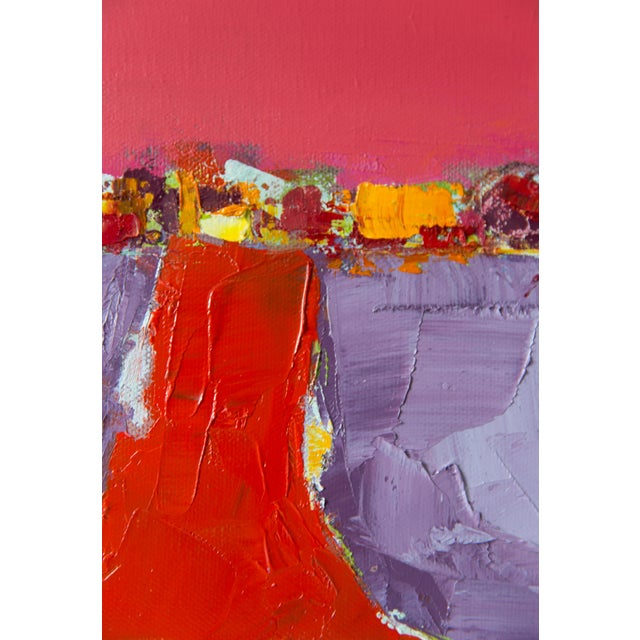"""Bill Tansey """"Red Road"""" Abstract Oil Painting on Canvas For Sale - Image 4 of 4"""