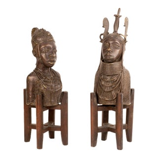 Bronze Tribal Busts with Stands - A Pair For Sale