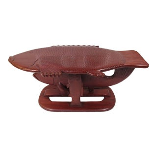 Vintage Folk Art Carved Wood Fish Form Red Lacquer Coffee Table For Sale