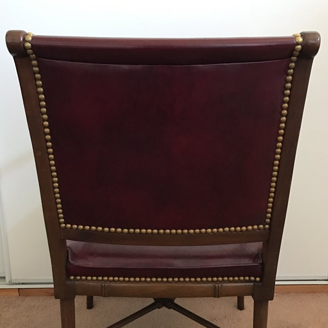 Cabot Wrenn Custom Burgundy Leather Chair - Image 9 of 10