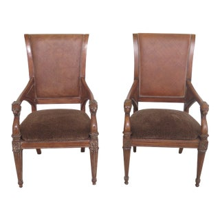 1990s Vintage Thomasville Regency Style Arm Chairs- A Pair For Sale