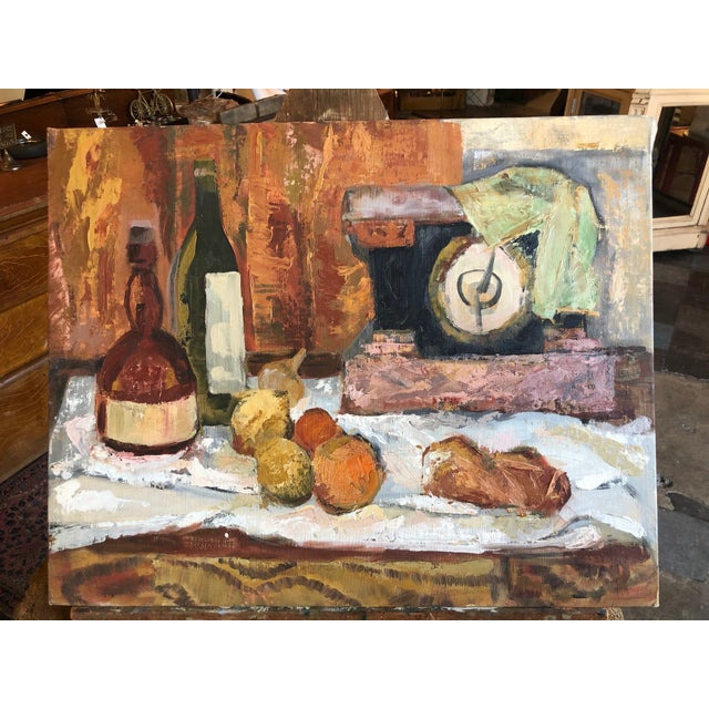 Beautiful still life painting on board. Made in the 1960s.