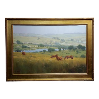 Michael Albrechtsen -Horses in a Meadow in a Beautiful Summer Day-Oil Painting For Sale