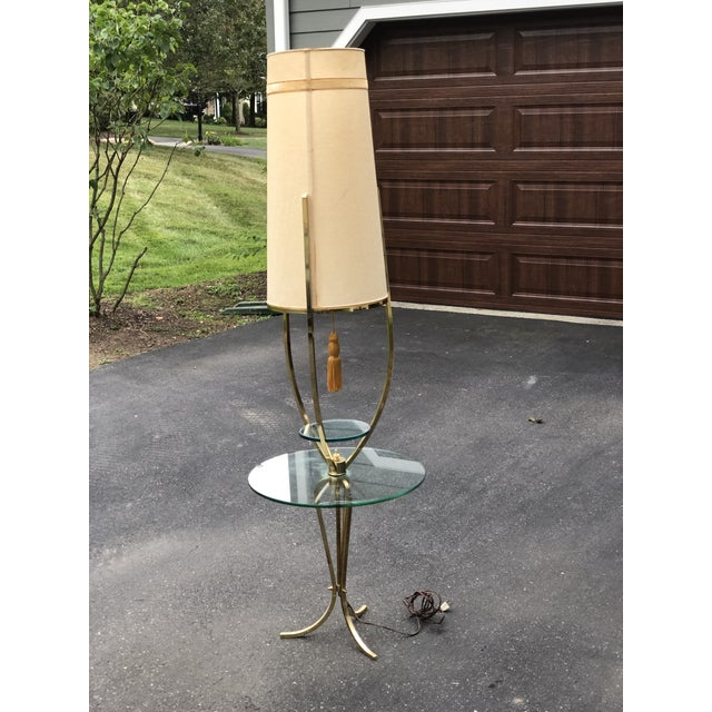 Mid Century Modern /Hollywood Regency Floor Lamp with Table For Sale - Image 10 of 12