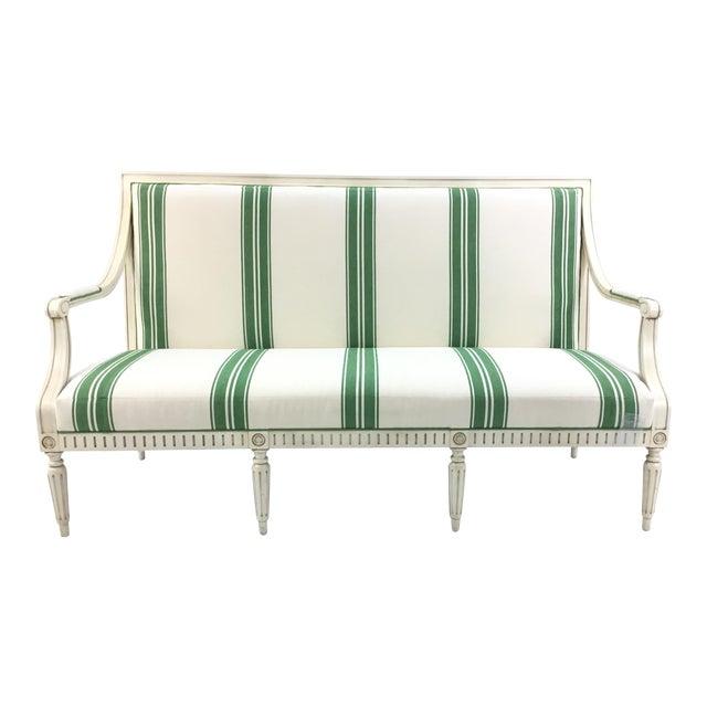 Mark D. Sikes for Henredon Green Stripped Presido Sofa/Bench For Sale