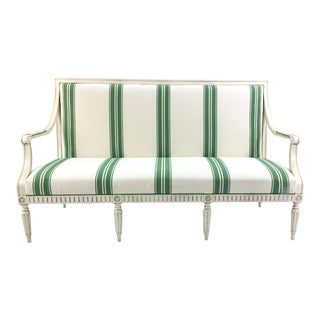Mike Sikes for Henredon Green Stripped Presido Sofa/Bench For Sale