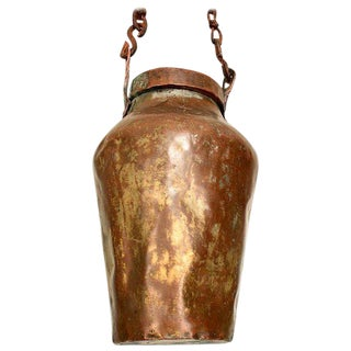 Antique Brass Container With Original Chain For Sale