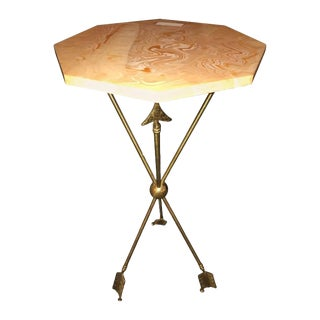 Arrow Form Bronze End Table Base or Pedestal on Tri Pod Legs For Sale