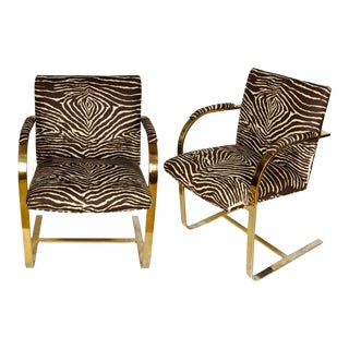 Vintage Brass Brown Zebra Armchiars - a Pair For Sale