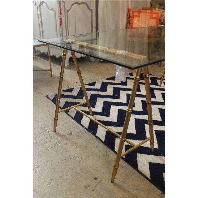 Glass & Gold Iron Faux Bamboo Dining Table - Image 5 of 6