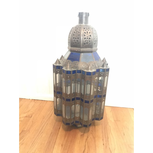 1960s Moroccan Brass and Cerulean Glass Lantern For Sale - Image 9 of 10