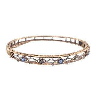 Edwardian 14k Gold Diamond and Sapphire Bangle Bracelet For Sale