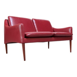 Danish Modern Cranberry Leather Settee by Hans Olsen For Sale