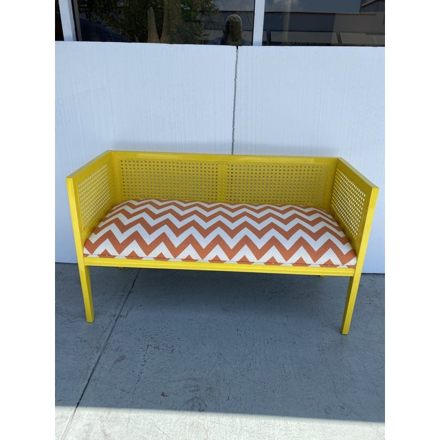 Mid-Century Modern Midcentury Cane Loveseat For Sale - Image 3 of 13