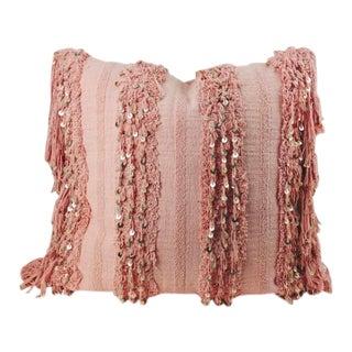 """New Modern Moroccan Wedding Blanket Inspired 26"""" Square Floor Fringe Pillow For Sale"""