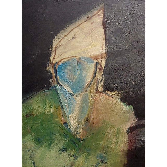 1960s Robert Moesle -Two Abstract and Surreal Figures -Oil Painting For Sale - Image 5 of 11