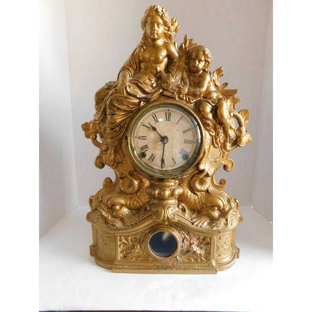 Victorian Gilt Metal Table Clock C. 1870 For Sale - Image 12 of 13