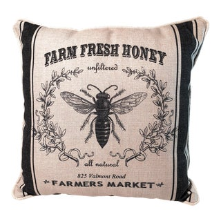 Farmers Market Linen Honey Bee Pillow