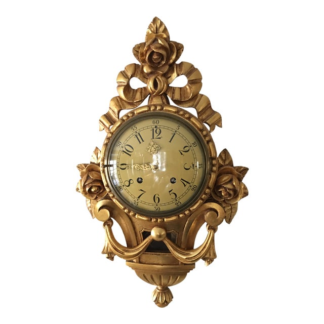 19th Century Craved Gold Leaf Wall Clock For Sale