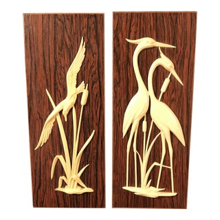 Vintage Ivory Bird Wood Wall Hangings - A Pair
