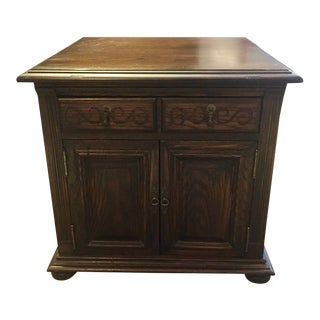 1970s Vintage Ethan Allen Royal Charter Jacobean Oak Nightstand For Sale
