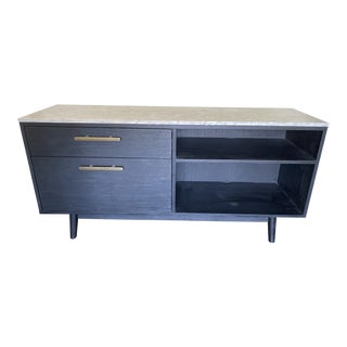 Mid Century Marble and Ebonized Wood Sideboard For Sale