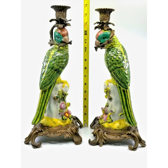 Offering a gorgeous LARGE pair of vintage Chinese Export porcelain parrot figurine candlesticks or candle holders, circa...