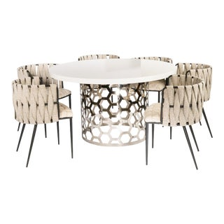 Contemporary Laguna Silver and White Dining Set - 7 Pieces For Sale