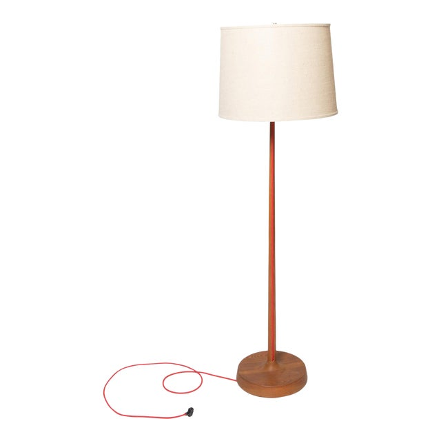 Scandinavian oak floor lamp with exposed cord and burlap shade For Sale