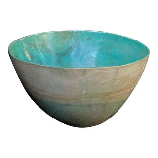 A massive and rare bowl of carved chrysocolla