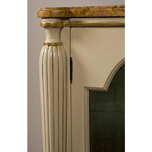 White Regency Style Marble Top Cabinets - A Pair For Sale - Image 8 of 10