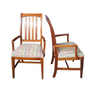 Early 21st Century Ethan Allen American Impressions Solid Cherry Slat Back Dining Chairs- A Pair For Sale