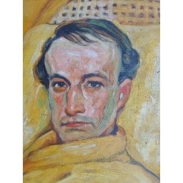 Vintage Smoking Man Oil Painting - Image 4 of 5