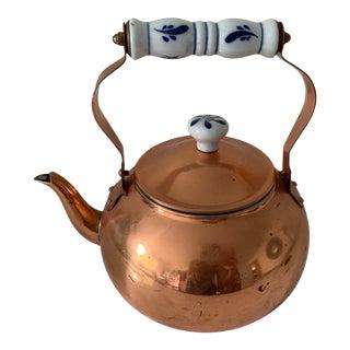 Copper and Porcelain Tea Pot For Sale
