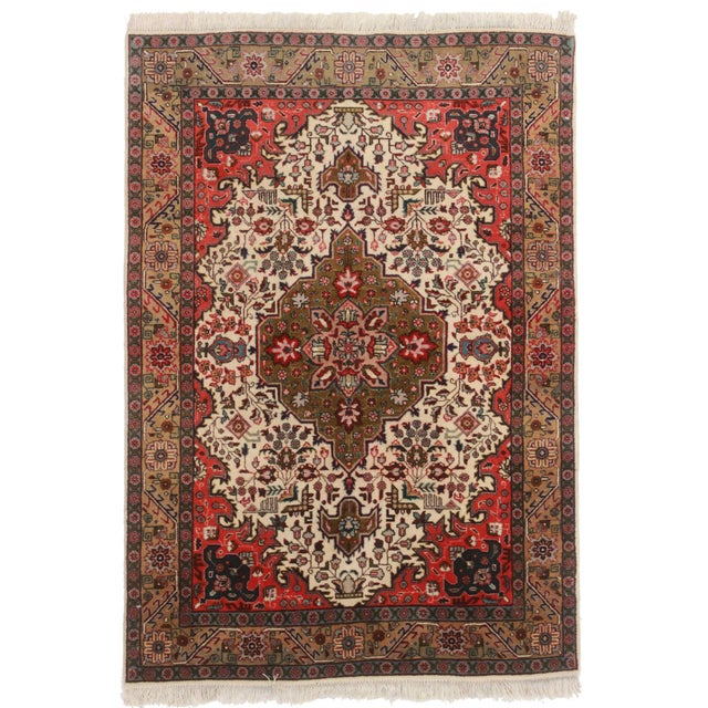 """Hand Knotted Wool Persian Tabriz Rug - 3'4"""" X 5' For Sale"""