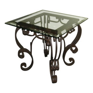 Vintage Spanish Style Wrought Iron Glass Top End Table