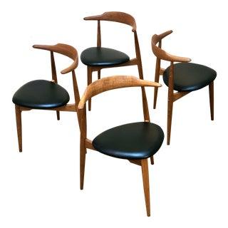 1950s Hans Wegner Danish Modern Heart Chairs - Set of 4