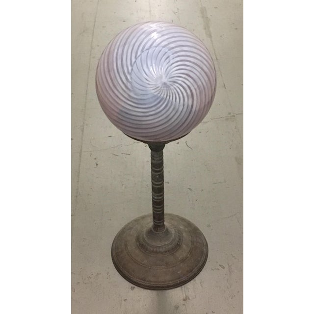 Modern Swirled Cranberry Glass Gazing Ball For Sale - Image 3 of 5