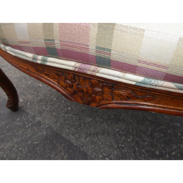 Vintage French Country Carved Wood & Plaid Arm Chair - Image 11 of 11