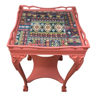 1920s Chippendale Hand Painted Terracotta Auburn Mahogany Clawfoot Table For Sale