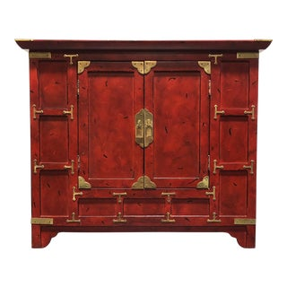 Red Asian Chinoiserie Campaign Cabinet / Nightstand For Sale