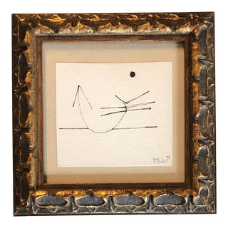 Vintage Miniature Robert Cooke Abstract Ink Drawing 1974 For Sale