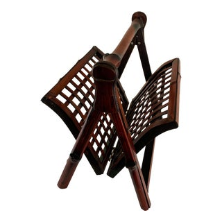 20th Century Asian Modern Bamboo Folding Magazine Rack For Sale