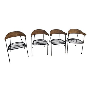 1950s Vintage Salterini Wicker& Iron Chairs- Set of 4 For Sale