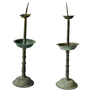 19th Century Asian Antique Bronze Candle Holders - a Pair