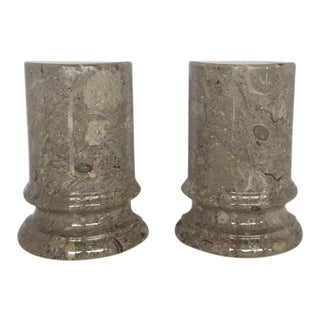 Marble Column Bookends - A Pair