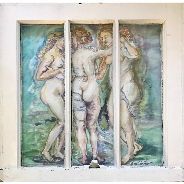 'The Three Graces' Original Watercolor Painted Framed Windows - Set of 3 For Sale - Image 11 of 13